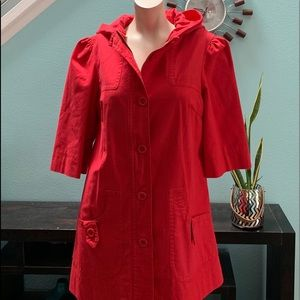 Retro red rain jacket